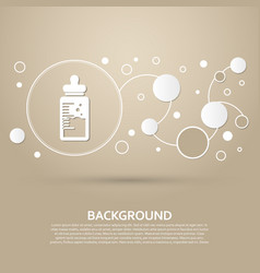 baby milk bottle icon on a brown background with vector image