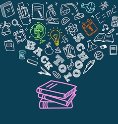Back to school concept falling icons to the books vector
