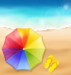 Beach umbrella on sand vector
