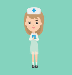 beautiful nurse character and patient book vector image