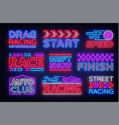 Big collection racing neon sign design vector
