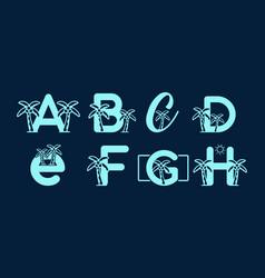Blue color a b c d e f g h initial letter vector