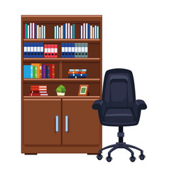 Bookshelf next to office chair vector