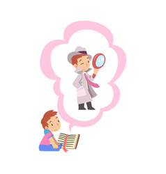 boy reading book about detective with magnifying vector image