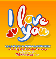 bright card i love you with hearts vector image