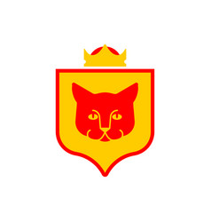 Cat shield heraldic symbol sign pet for coat of vector