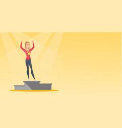 Caucasian sportswoman celebrating on winner podium vector