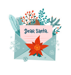 christmas letter to santa claus in open envelope vector image