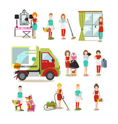 Cleaning people flat icon set vector