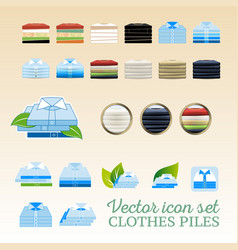 clothes piles icon set vector image