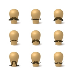 Collection of hipster mustaches on hat-blocks vector