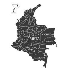 colombia map labelled black vector image