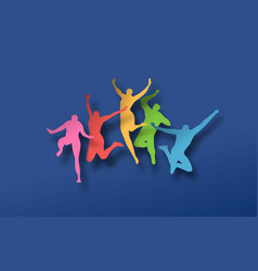 Colorful papercut people in jumping pose vector