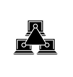 computer working group black icon sign on vector image