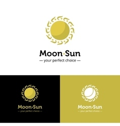 creative sun and moon logo Golden color vector image