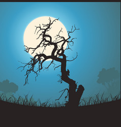 Dead tree silhouette in the moonlight vector