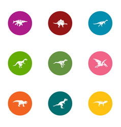 dino icons set flat style vector image