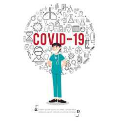 doctor and virus icons in covic 19 concept vector image