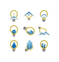 electric real estate logo icon graphic template vector image