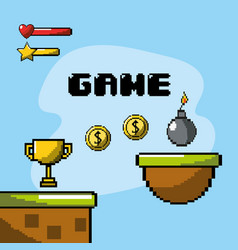 electronic videogame with graphic design character vector image