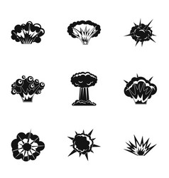 explosion effect icons set simple style vector image