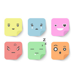 Expression faces on sticky notes flat and pastel vector