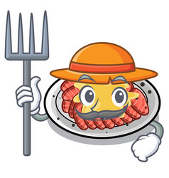 Farmer carpaccio is served on cartoon plates vector