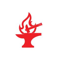 Flat flame line blacksmith symbol logo vector