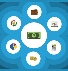 flat icon finance set of interchange cash vector image