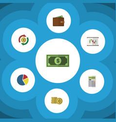 Flat icon finance set of interchange cash vector