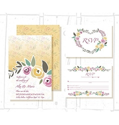 Floral invitation template with signature vector