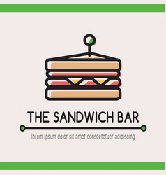 food logotype with classical sandwich vector image