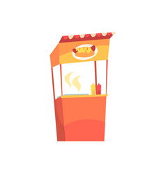 Food stall with hot dogs fixed market stall for vector