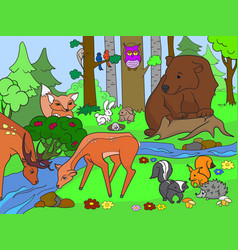 forest landscape with animals coloring for vector image
