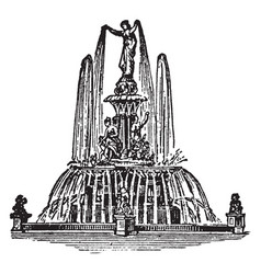 Fountain water vintage engraving vector