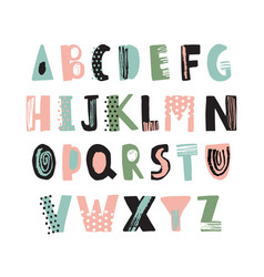 funky latin font or childish english alphabet hand vector image