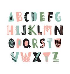 Funky latin font or childish english alphabet hand vector