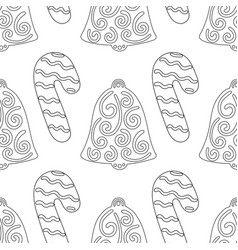 Gingerbread bells black and white vector