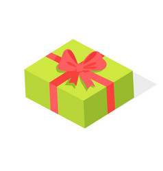 green gift box with red bow isolated vector image