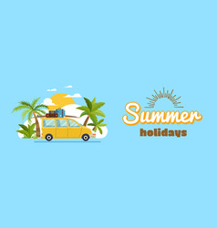 happy family driving in car on weekend holiday vector image
