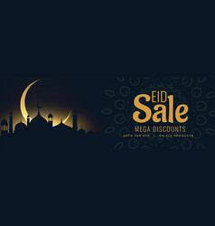 Islamic eid sale banner with mosque and moon vector