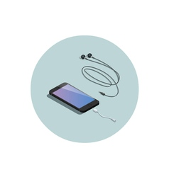 Isometric black smartphone with headphone adapter vector