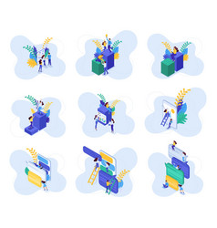 Isometric concepts communication teenagers vector