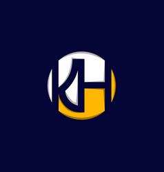 letter kh circle creative modern logo vector image