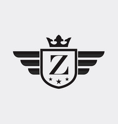 letter z shield wing vector image
