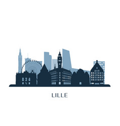 lille skyline monochrome silhouette vector image