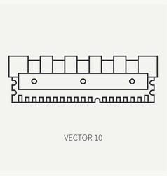 Line flat computer part icon data storage vector
