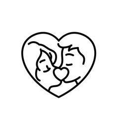 marriage couple kissing icon for weeding concept vector image