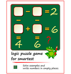 Mathematical logic puzzle game for smartest solve vector