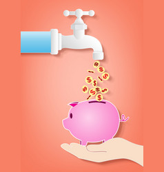 money fall out of the tap vector image